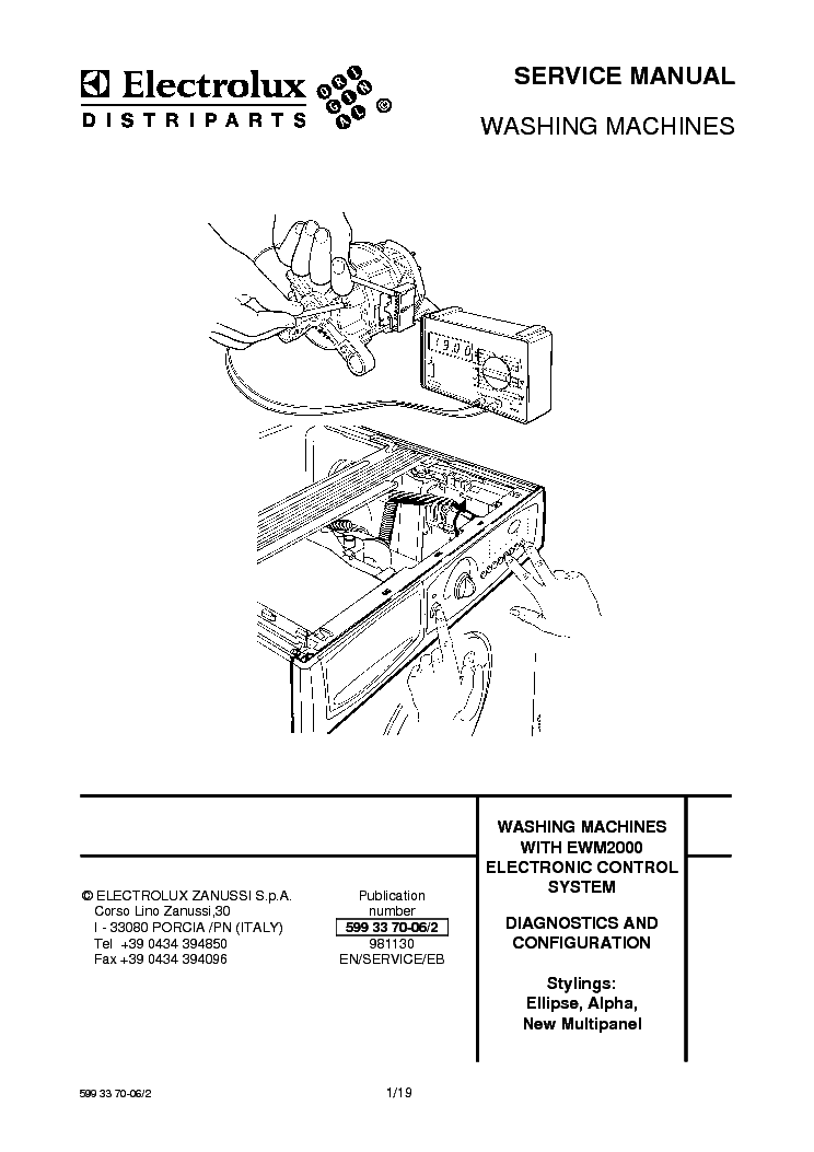 ELECTROLUX EW1077F Service Manual download, schematics