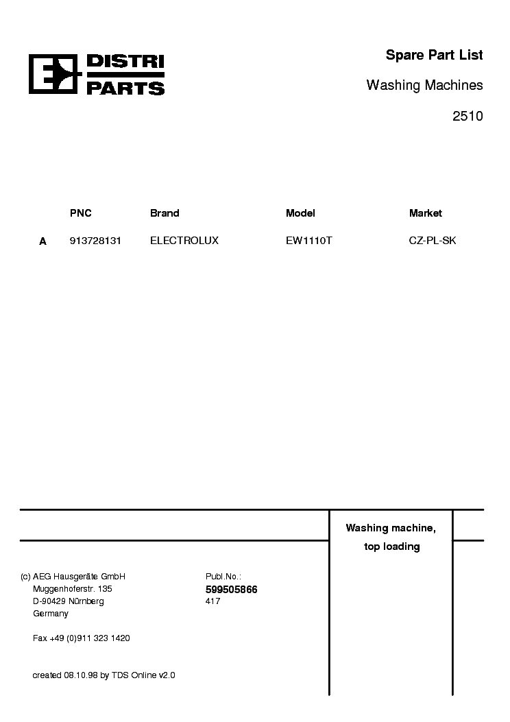 ELECTROLUX EW 1110 Service Manual download, schematics