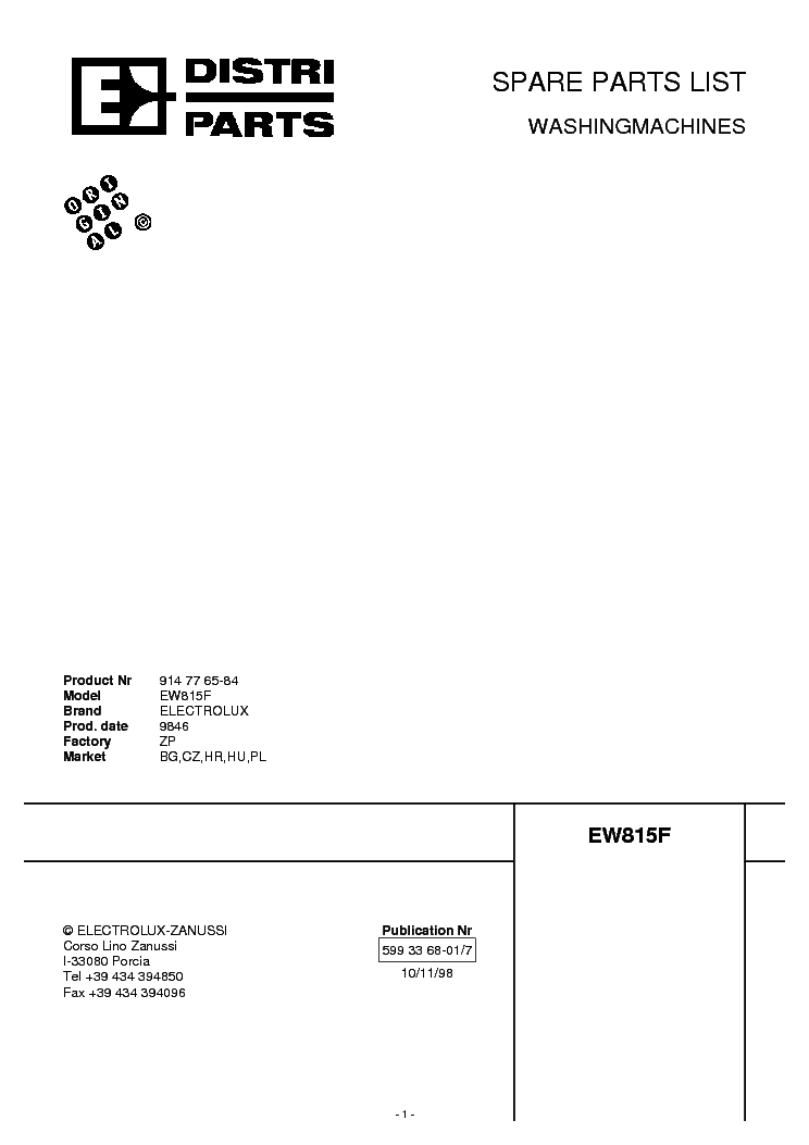ELECTROLUX EW 815 F Service Manual download, schematics