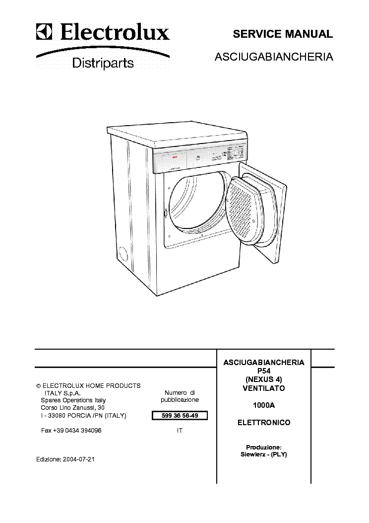 ELEKTROLUX DRYER NEXUS4 SM Service Manual download