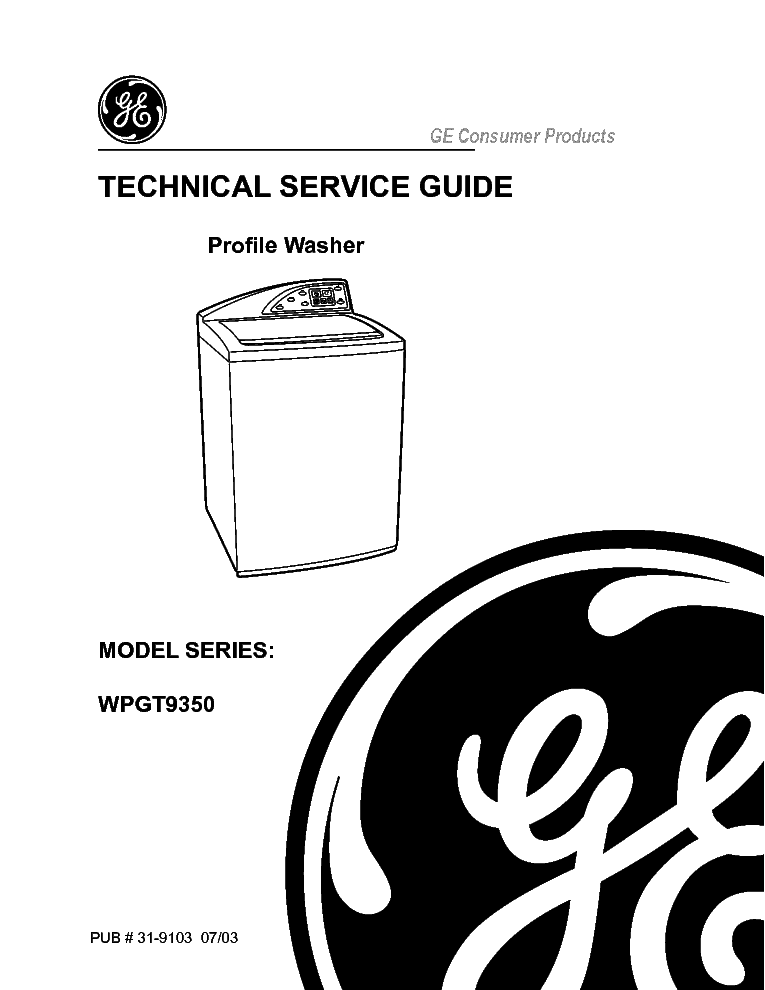 GE WPGT9350 Service Manual download, schematics, eeprom