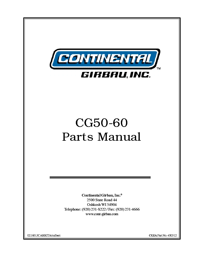 CONTINENTAL GIRBAU CG SERIES 450210 CG115-25 PARTS R1 4-23