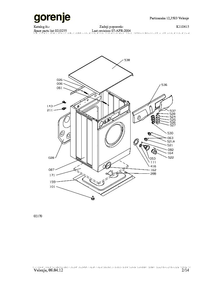 GORENJE WA482.DOC Service Manual download, schematics