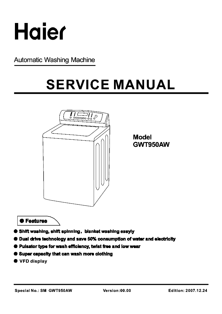 HAIER XQS5-0877 XQB50-G0877 Service Manual download