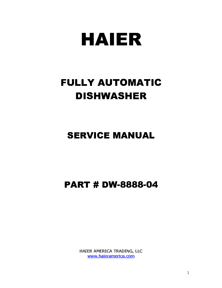 HAIER HDP18PA Service Manual download, schematics, eeprom