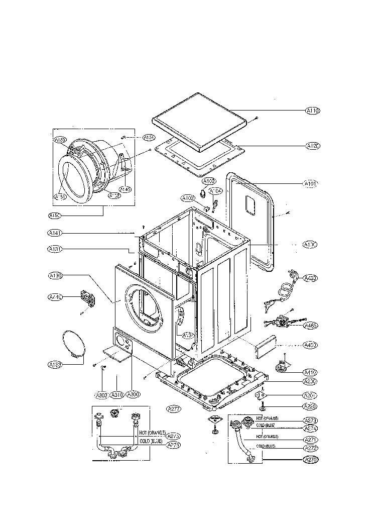 LG WD1460FD Service Manual download, schematics, eeprom