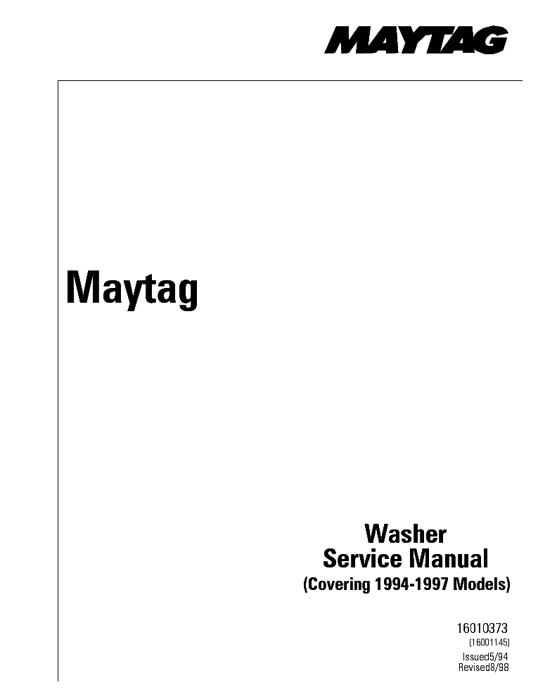 MAYTAG DEPENDABLE CARE Service Manual download, schematics