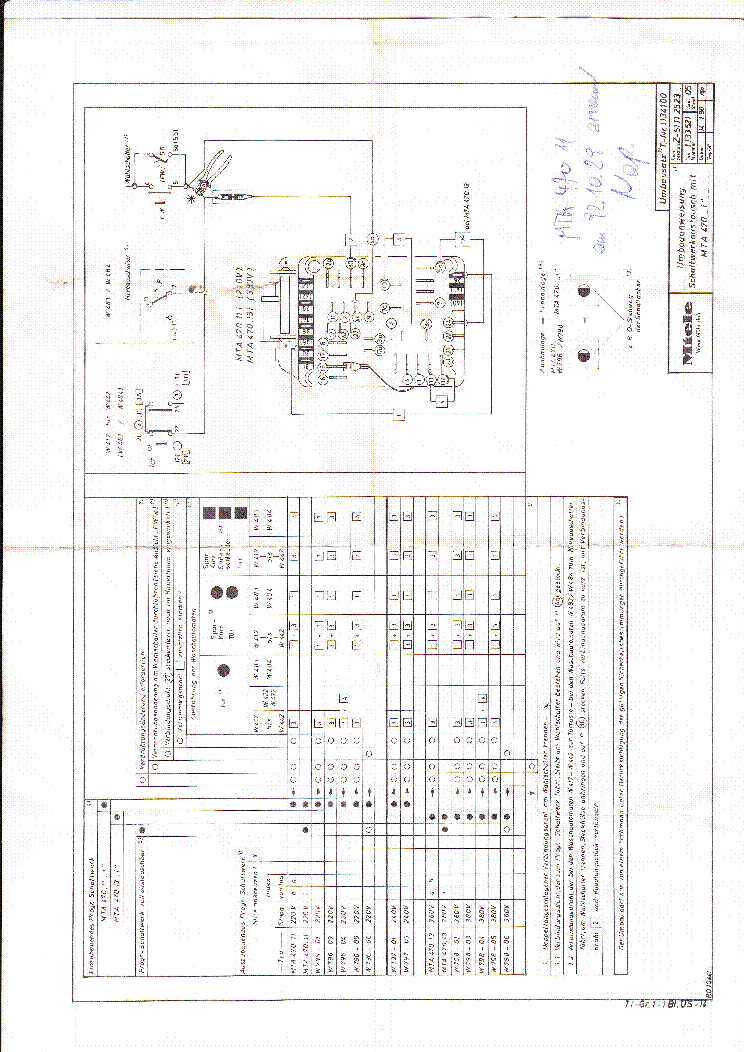 MIELE MTA470 Service Manual download, schematics, eeprom