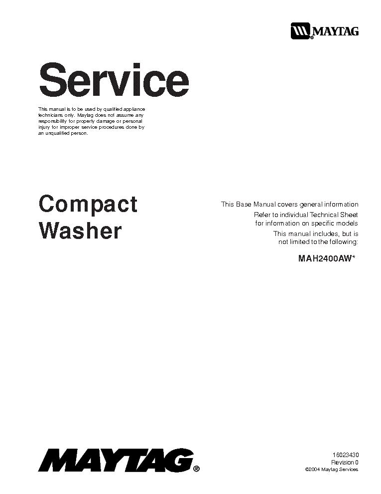 MAYTAG MAH2400AW Service Manual download, schematics