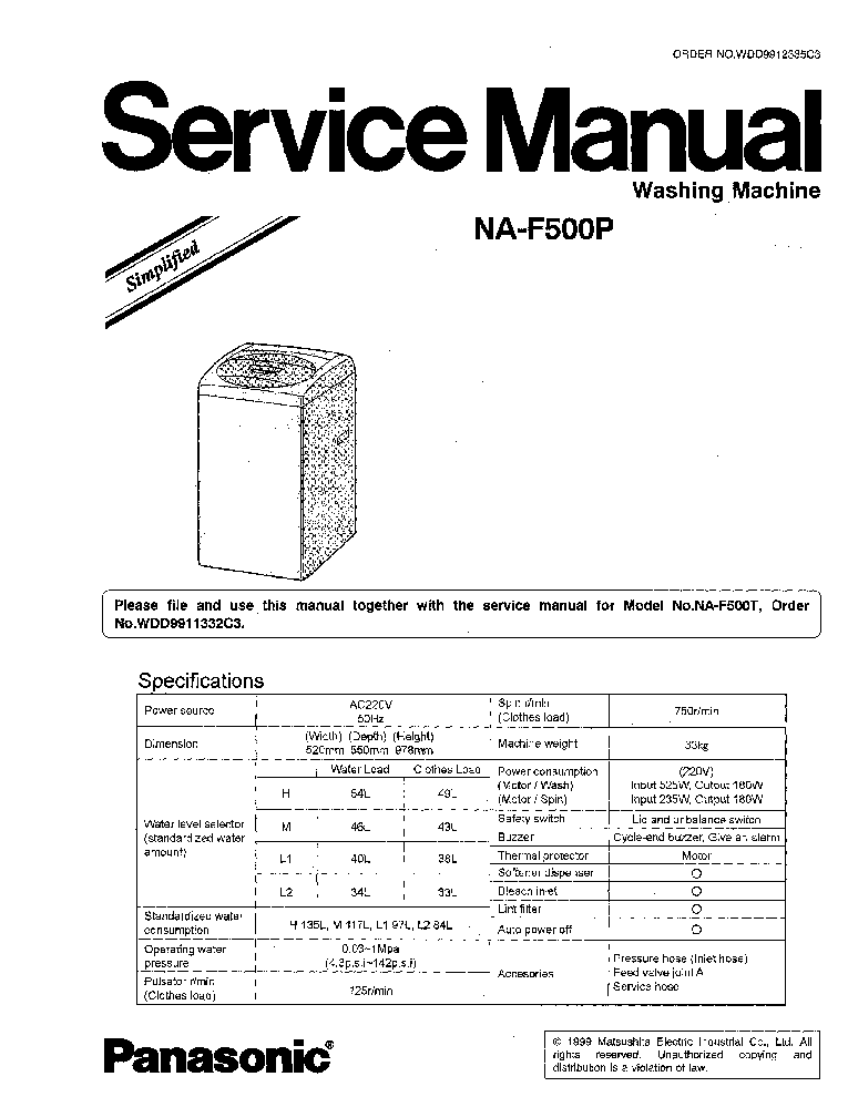 PANASONIC NA-F500P Service Manual download, schematics