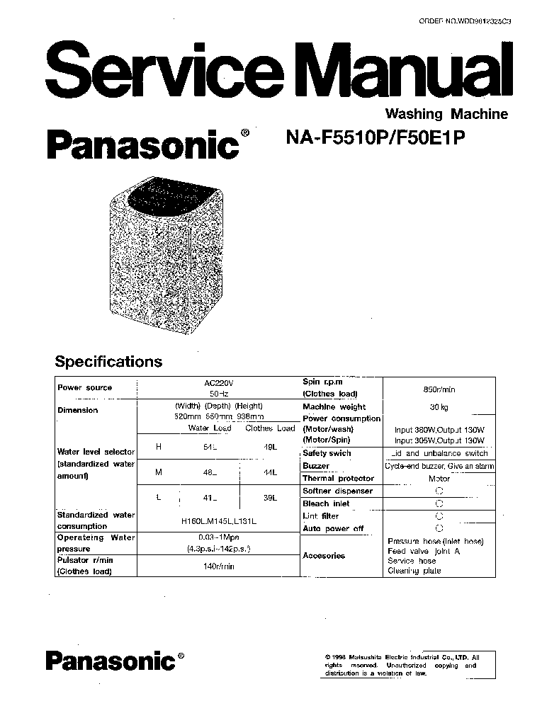 PANASONIC NA-F5501P F50E1P Service Manual download