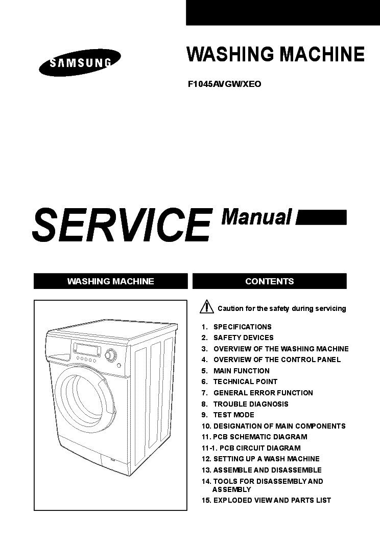 SAMSUNG F1045AVGW-XEO WASHING MACHINE Service Manual