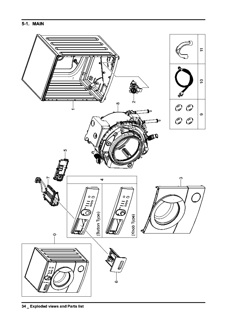 SAMSUNG WF 0508NXWG EXPLODED VIEW PART LIST Service Manual
