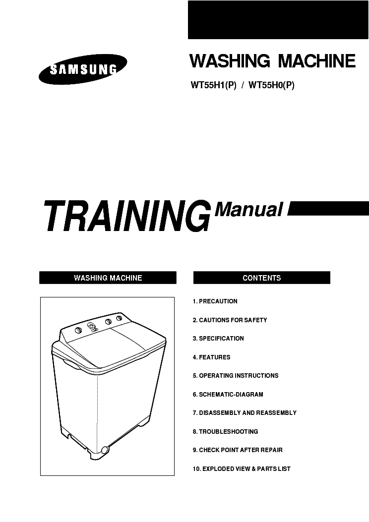 SAMSUNG WT55H O P WASHING Service Manual download