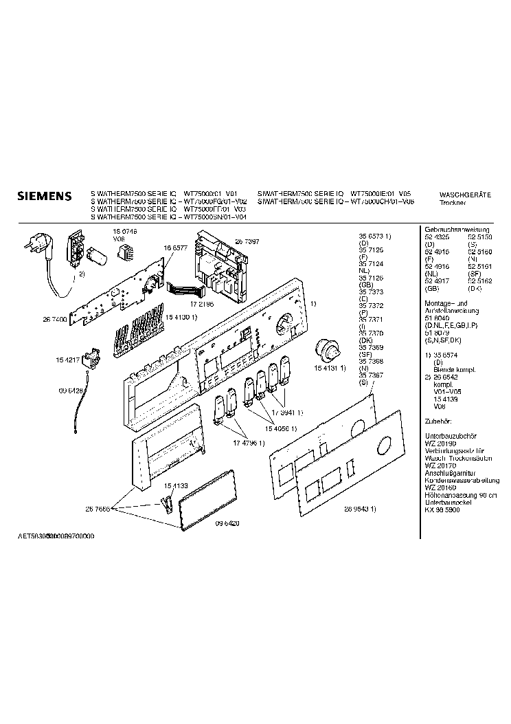 SIEMENS WT75000FF01 EXPLODED VIEWS Service Manual download