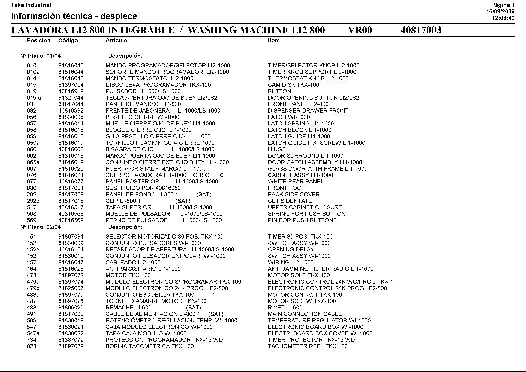 TEKA LI2-800 321 Service Manual download, schematics