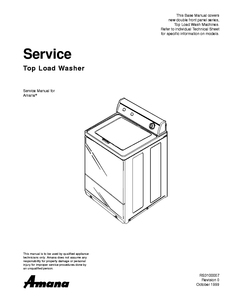 WHIRLPOOL AMANA SEARCY TOP LOAD Service Manual download