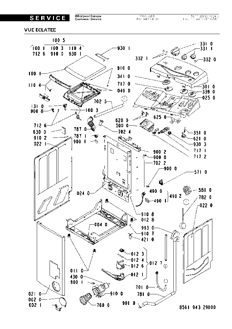 WHIRLPOOL AWA5958 Service Manual download, schematics