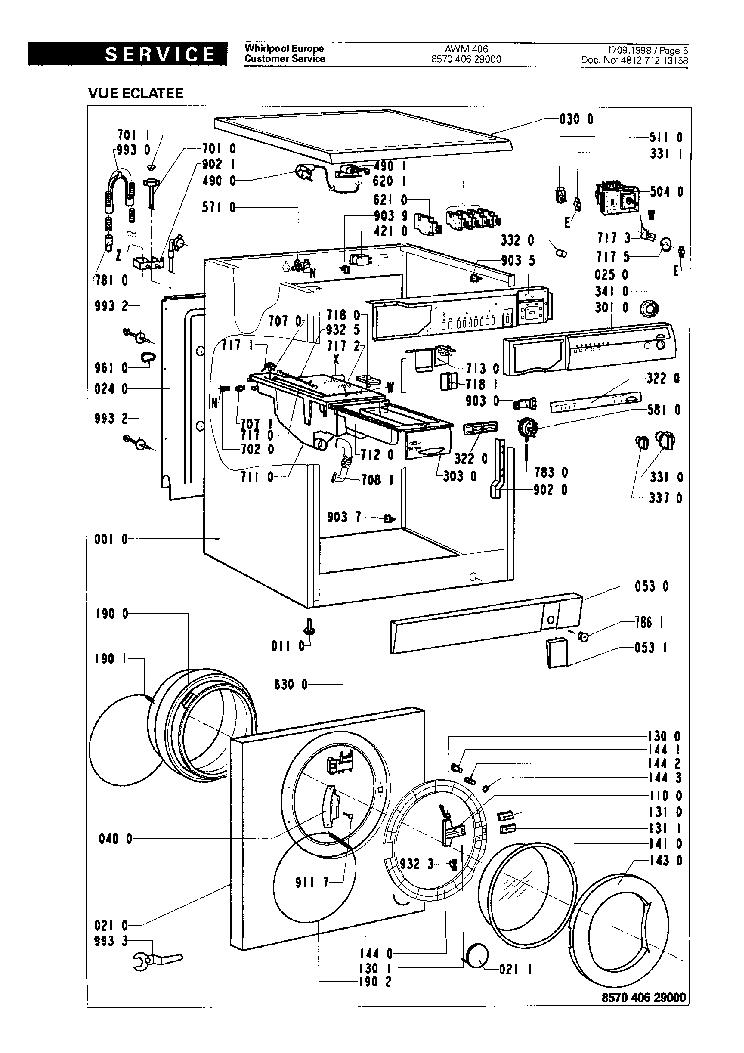 WHIRLPOOL AWM406 Service Manual download, schematics