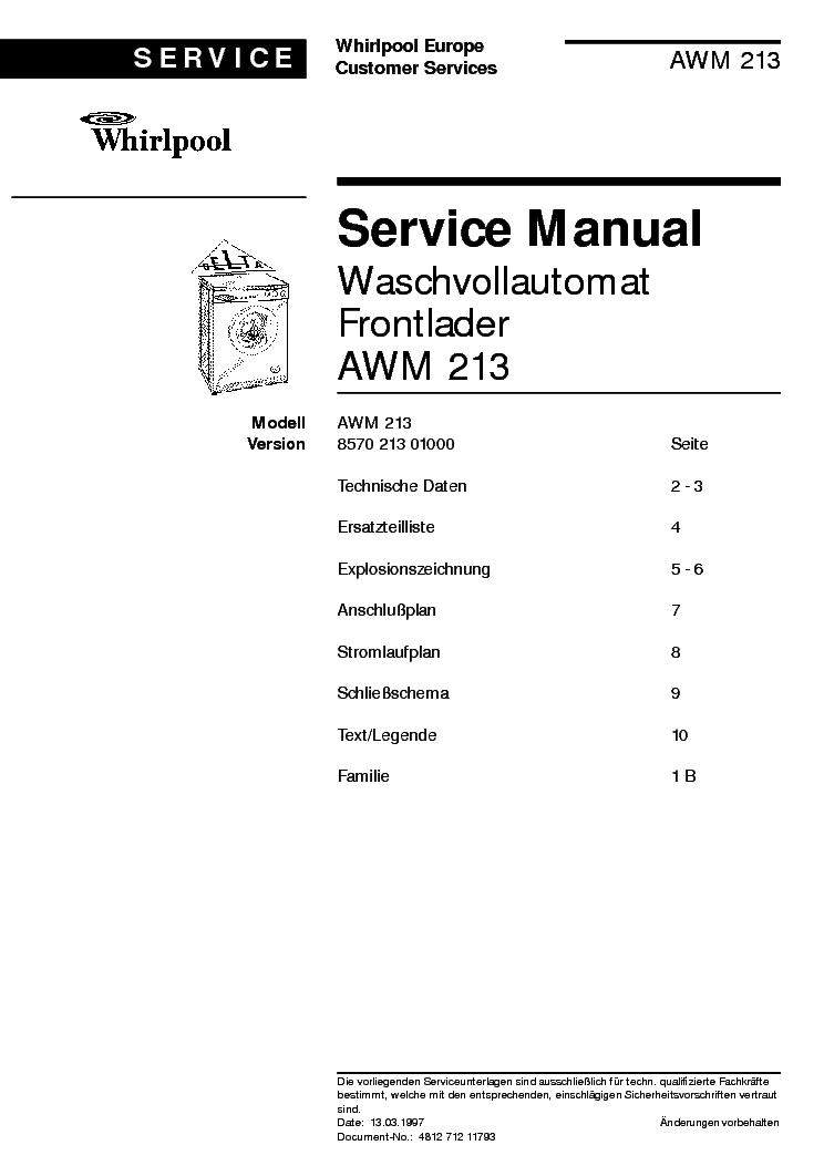 WHIRLPOOL AWM 213 Service Manual download, schematics