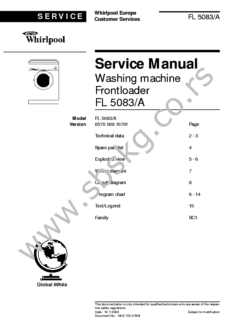 WHIRLPOOL ARC 1620 Service Manual download, schematics