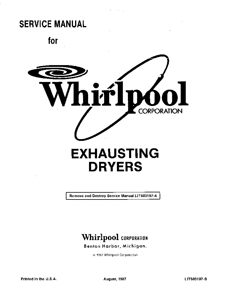 WHIRLPOOL LIT603197-A EXHAUSTING DRYERS Service Manual