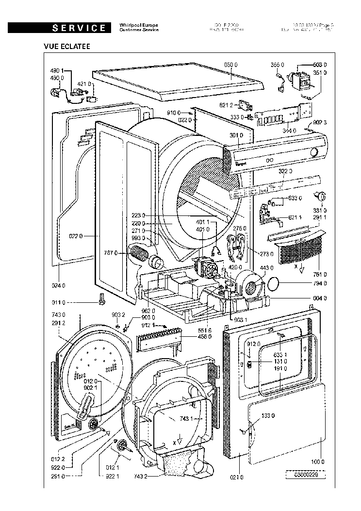 WHIRLPOOL SOLE2000 EXPLODED VIEWS Service Manual download