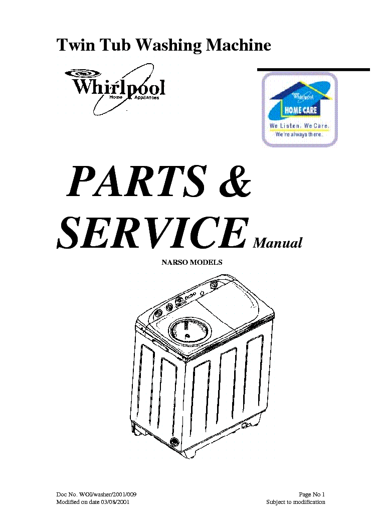 WHIRLPOOL TWIN TUB NARSO Service Manual download