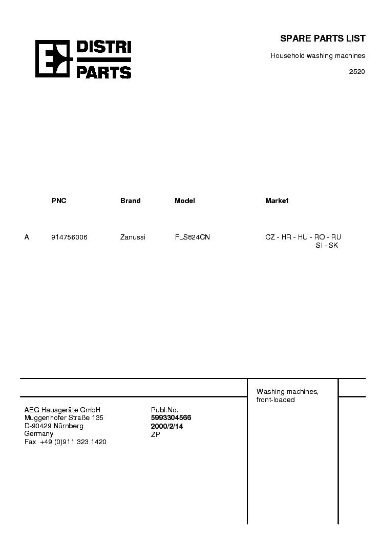 ZANUSSI ZWF2105W SM Service Manual download, schematics