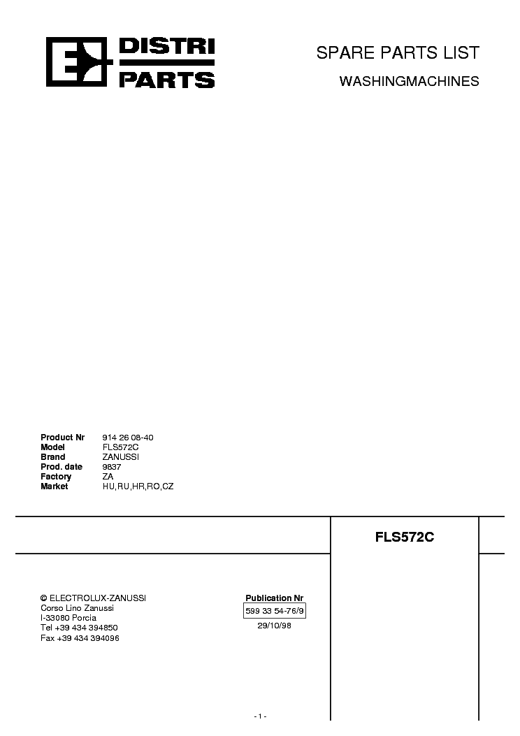 ZANUSSI FLS 572C Service Manual download, schematics