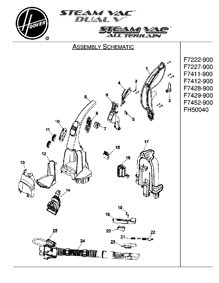 HOOVER F7222-F7227-F7411-F7412-F7428-F7429-F7452-900