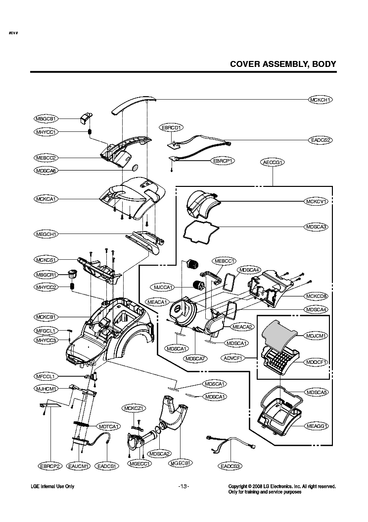 LG VK9820UH EXPLODED VIEW Service Manual download
