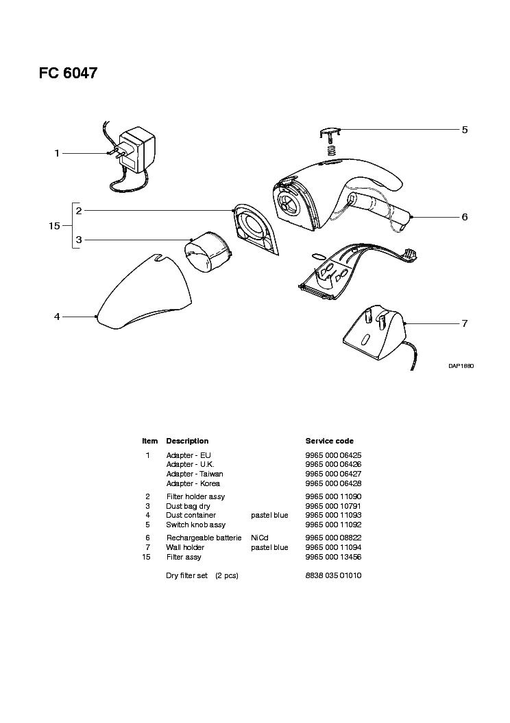 PHILIPS FC6047 DAISY Service Manual download, schematics