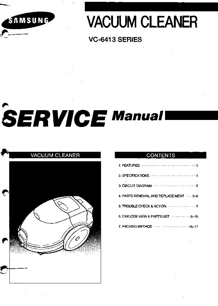 SAMSUNG VC6413 SERIES Service Manual download, schematics