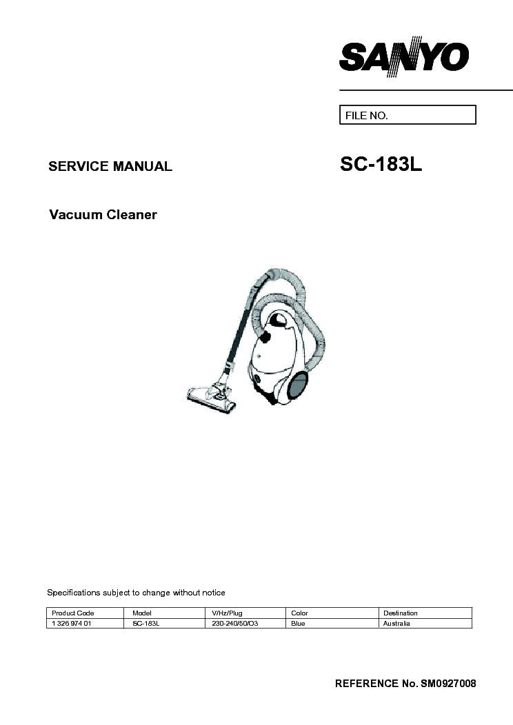 SANYO ABC-E1SH AIRCLEANER Service Manual download