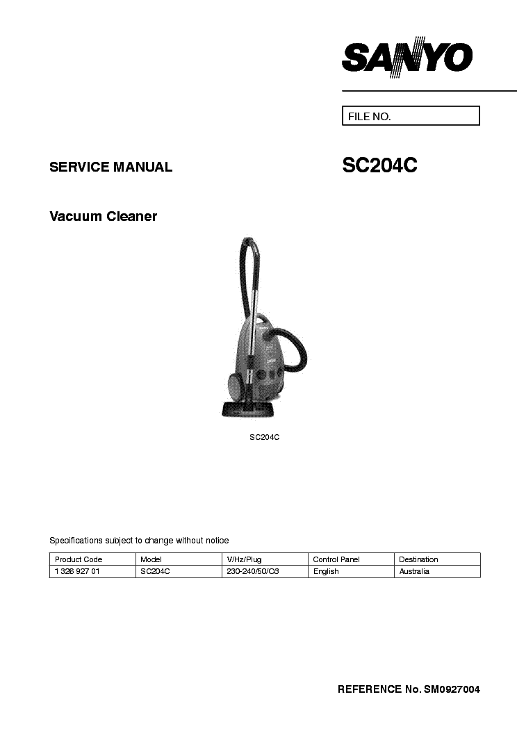 SANYO SR-L6111W PARTS LIST Service Manual download