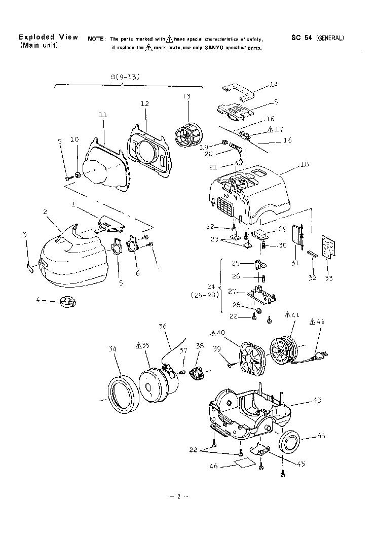 SANYO SC-54 VACUUMCLEANER Service Manual download