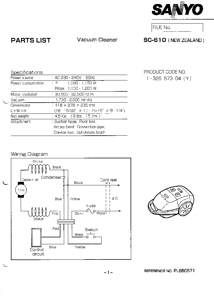 SANYO SC-610 VACUUMCLEANER Service Manual download