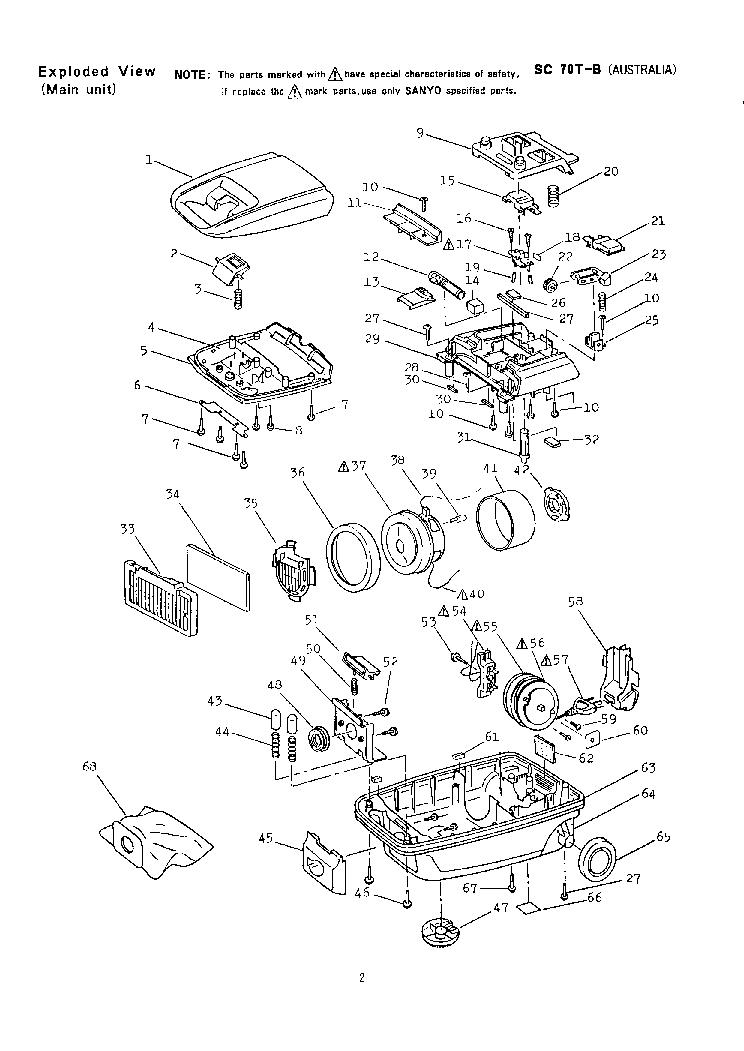 SANYO SC-70T-B VACUUMCLEANER Service Manual download