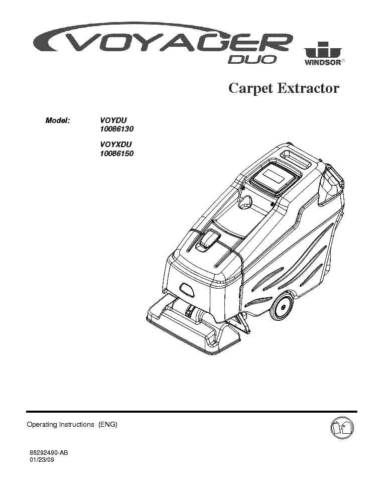 WINDSOR SABER GLIDE 30 VACUUM CLEANER Service Manual