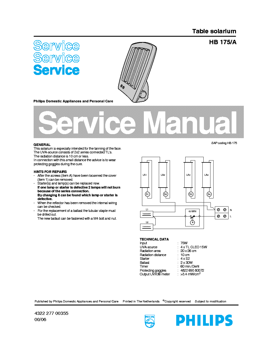 PHILIPS HB-175A SOLARIUM Service Manual download