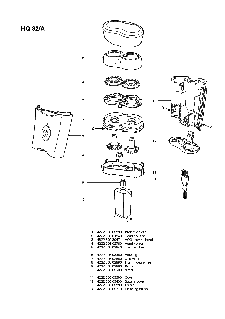 PHILIPS HQ32A Service Manual download, schematics, eeprom