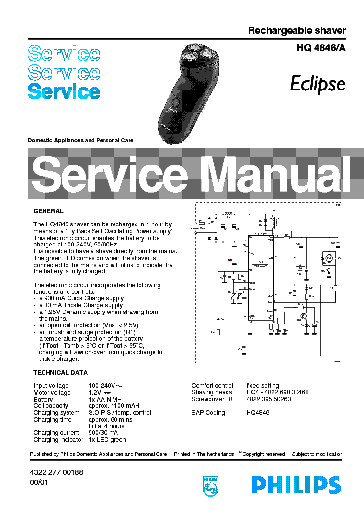 PHILIPS HQ4846A ECLIPSE RECHARGEABLE SHAVER Service Manual
