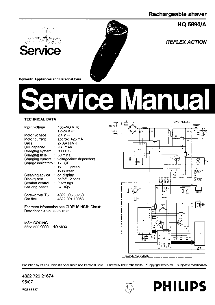 PHILIPS HQ5890A RECHARGEABLE SHAVER Service Manual