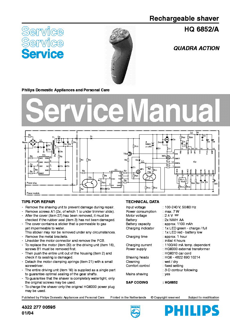 PHILIPS FC9194-01-11 VACUUM CLEANER Service Manual