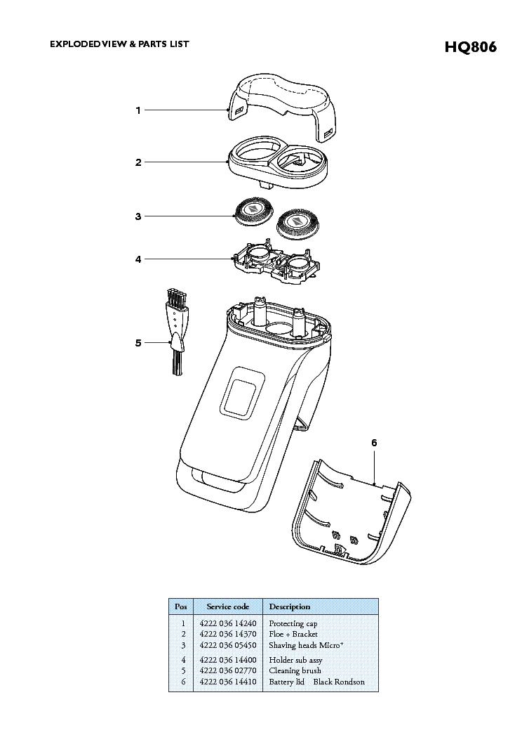PHILIPS HQ806 SHAVER Service Manual download, schematics