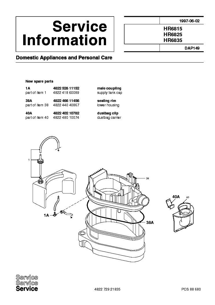 PHILIPS HR6815 HR6825 HR6835 DAP149 Service Manual