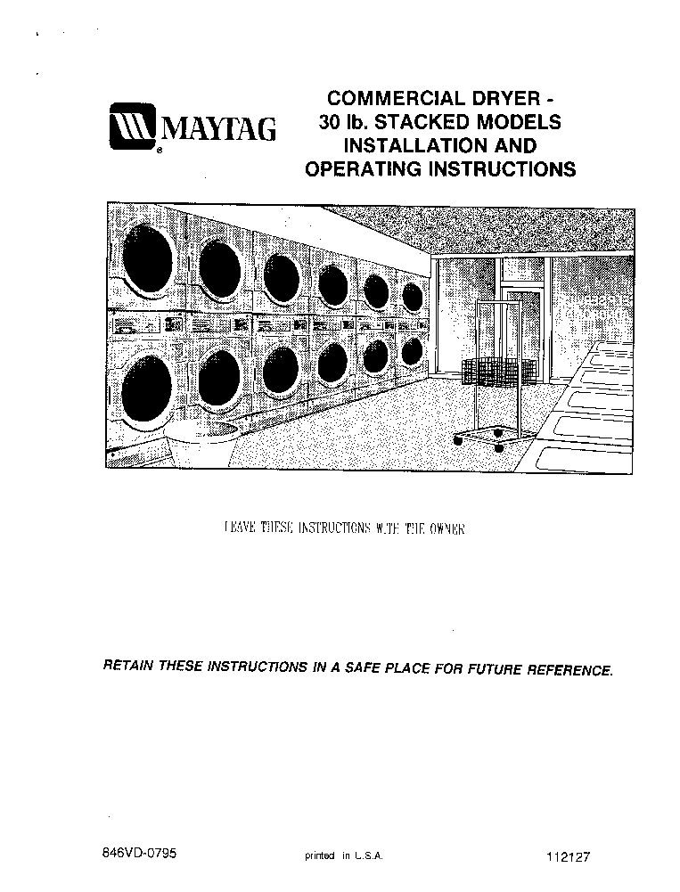 MAYTAG MLG32 INSTALLATION OPERATING Service Manual