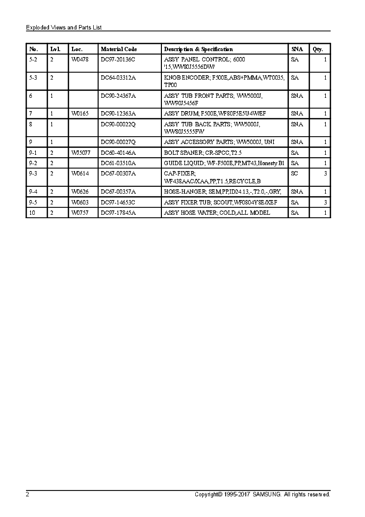 SAMSUNG WW80J5556DWEF WASHER PATRS LIST Service Manual
