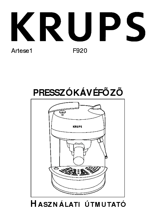 KRUPS F920 USER HUN Service Manual download, schematics
